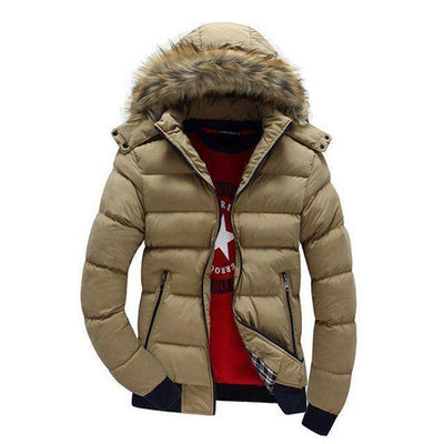 Thick Hooded Fur Collar Parka Men Coats Solie Khaki / M M.parkas