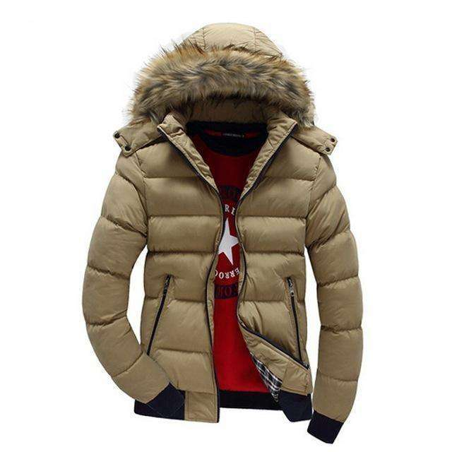 Thick Hooded Fur Collar Parka Men Coats M.parkas