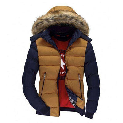 Thick Hooded Fur Collar Parka Men Coats Yellow Blue / M M.parkas