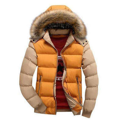 Thick Hooded Fur Collar Parka Men Coats Yellow Khaki / M M.parkas