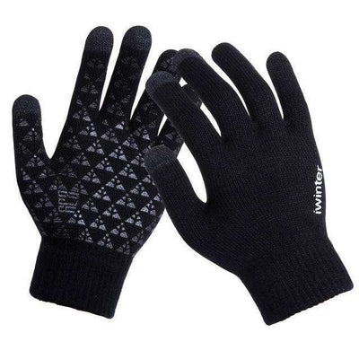 Thicken Warm Wool Cashmere Gloves Black / Men Gloves
