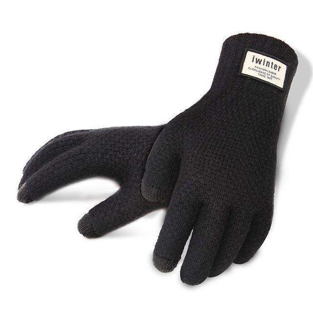 Thicken Warm Wool Cashmere Solid Gloves Gloves