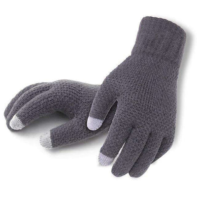 Touch Screen High Quality Male Thicken Warm Gloves Graynologo / One Size Gloves