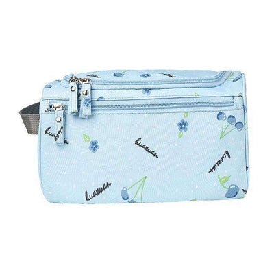 Travel Cosmetic Organizer Bag Waterproof Wash Bag Blue Cherry