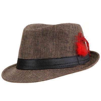 Trendy Unisex Side With Feathers Fedora Brown Fedoras