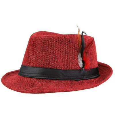 Trendy Unisex Side With Feathers Fedora Red Fedoras
