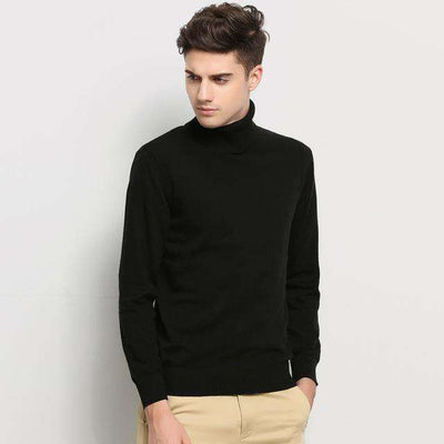 Turtleneck Slim Fit Winter Pullover Black / M M.sweaters