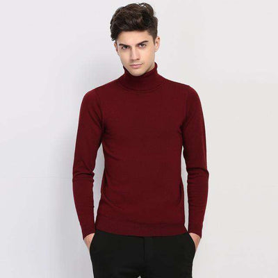 Turtleneck Slim Fit Winter Pullover Wine Red / M M.sweaters