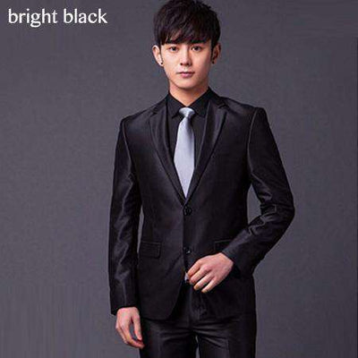 Two Buttons Slim Fit Work Suits Bright Black / Xs Suits