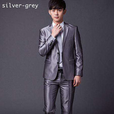 Two Buttons Slim Fit Work Suits Bright Grey / Xs Suits