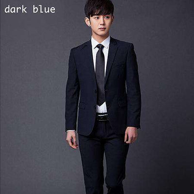 Two Buttons Slim Fit Work Suits Dark Blue / Xs Suits