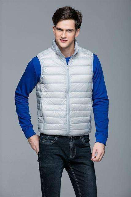 Ultra Light 90% White Duck Down Sleeveless Vest Navy Blue / S Down Jackets