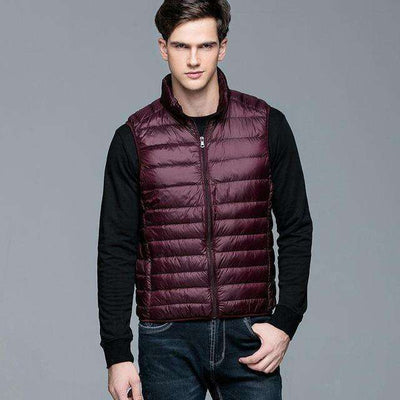 Ultra Light 90% White Duck Down Sleeveless Vest Wine Red / S Down Jackets