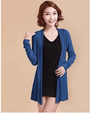 Unique Fashion Cardigan Sweater Navy Blue / L W.sweaters