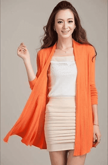 Unique Fashion Cardigan Sweater Orange / M W.sweaters