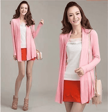 Unique Fashion Cardigan Sweater Pink / M W.sweaters