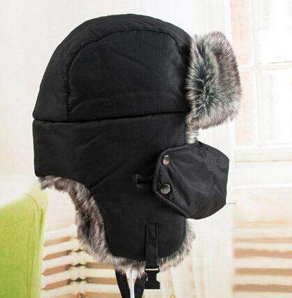 Warm Winter Unisex Earmuffs Cap With Mask Dark Blue Hats