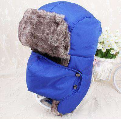 Warm Winter Unisex Earmuffs Cap With Mask Blue Hats