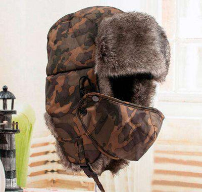 Warm Winter Unisex Earmuffs Cap With Mask Camouflage Hats