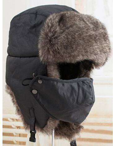 Warm Winter Unisex Earmuffs Cap With Mask Dark Gray Hats