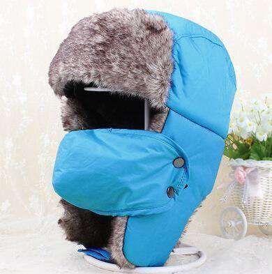 Warm Winter Unisex Earmuffs Cap With Mask Light Blue Hats