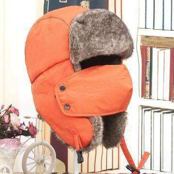 Warm Winter Unisex Earmuffs Cap With Mask Orange Hats