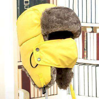 Warm Winter Unisex Earmuffs Cap With Mask Yellow Hats