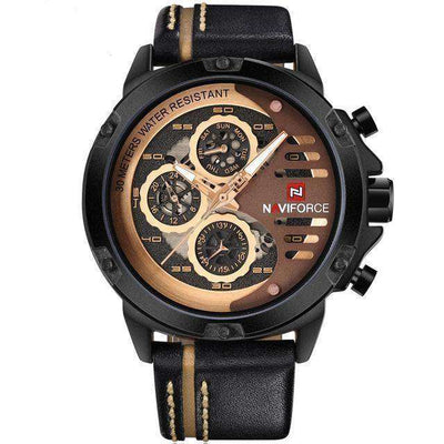 Waterproof 24 Hour Date Quartz Watch Black Brown