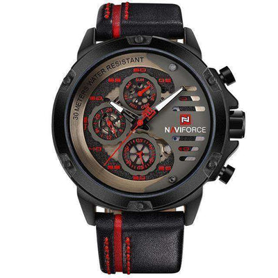 Waterproof 24 Hour Date Quartz Watch Black Red