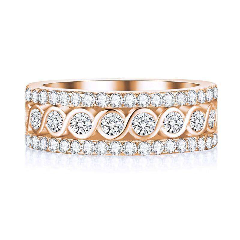 White Gold Color Round Rings For Women Engagement 10 / White Gold Color