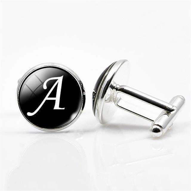 White On Black Letters Men Suits Shirt Cuff Links
