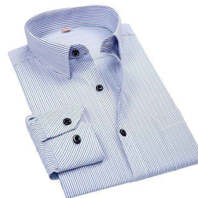 White/blue/black Striped Social Shirts Dm2102 / Asian Size S Shirts