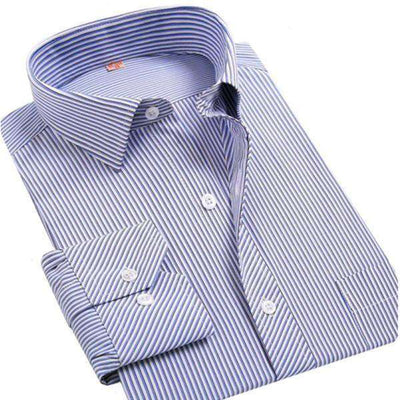 White/blue/black Striped Social Shirts Shirts