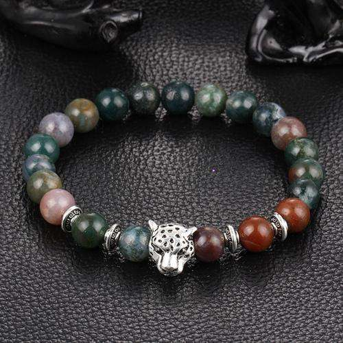 Wholesale Antique Plated Buddha Leopard Head Bracelet Black White