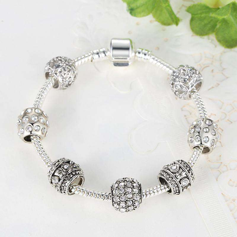 Women Bracelet Silver Color Crystal Bead Charm Bracelet Green / 18Cm