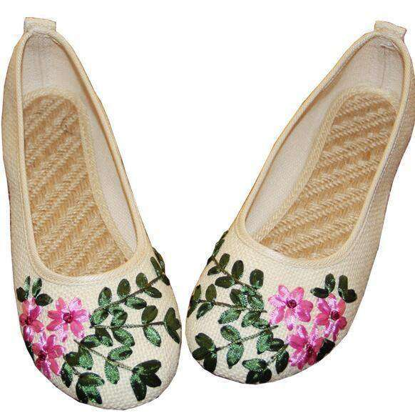 Women Flats Flower Slip On Cotton Fabric Linen Comfortable 1 Khaki / 4