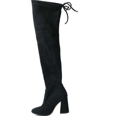 Women Over The Knee Boots Lace Up Sexy Hoof Heels Women Shoes Black / 11