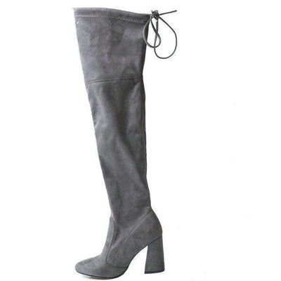 Women Over The Knee Boots Lace Up Sexy Hoof Heels Women Shoes Drak Grey / 11