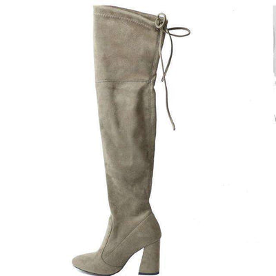 Women Over The Knee Boots Lace Up Sexy Hoof Heels Women Shoes Khaki / 11