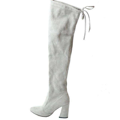 Women Over The Knee Boots Lace Up Sexy Hoof Heels Women Shoes Light Grey / 11