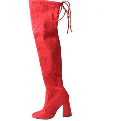 Women Over The Knee Boots Lace Up Sexy Hoof Heels Women Shoes Red / 11