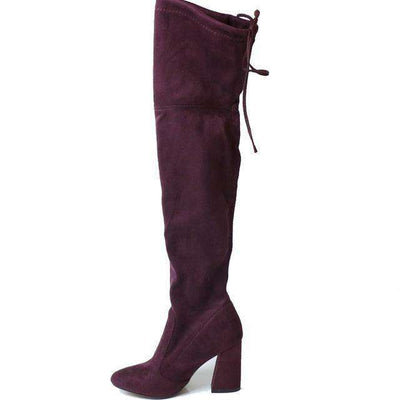 Women Over The Knee Boots Lace Up Sexy Hoof Heels Women Shoes Red Wine / 11