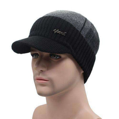 Wool Knitted Bonnet Black Dark Gray Beanies