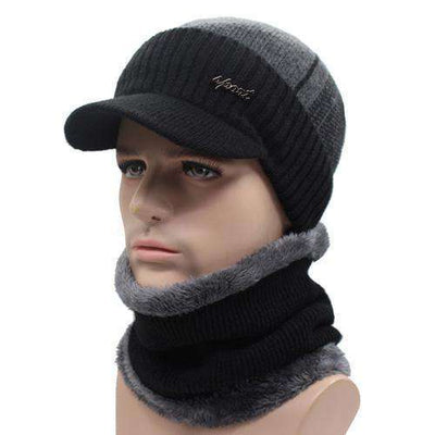 Wool Knitted Bonnet Black Dark Gray Set Beanies