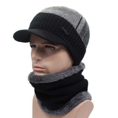 Wool Knitted Bonnet Black Middl Gray Set Beanies