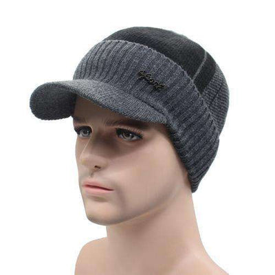 Wool Knitted Bonnet Dark Gray Black Beanies