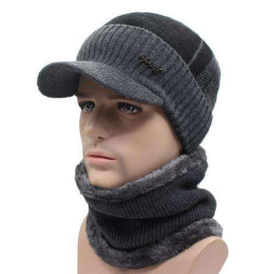 Wool Knitted Bonnet Dark Gray Black Set Beanies