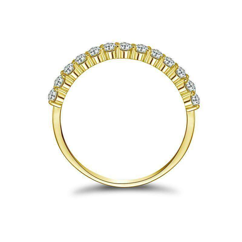 Yellow Solid Gold Ring Women Ring Row