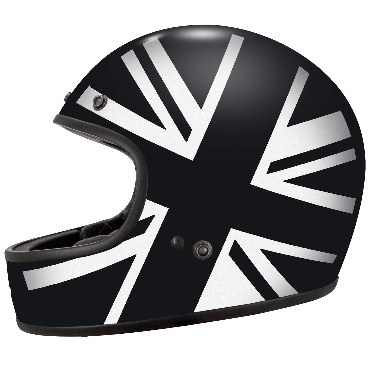 Union Jack White on Black Helmet Design