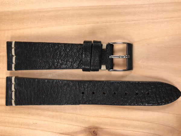 Charcoal Black Handmade & Hand-stitched Italian Leather Strap | 20mm X 16mm - Back In Time International | Back In Time International